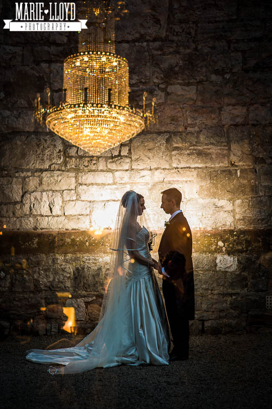 Ruthin Castle Wedding Photographer, double exposure with the Castles famous chandelier