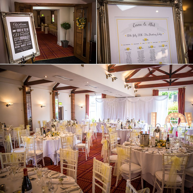 White and yellow summer colour scheme wedding dressing