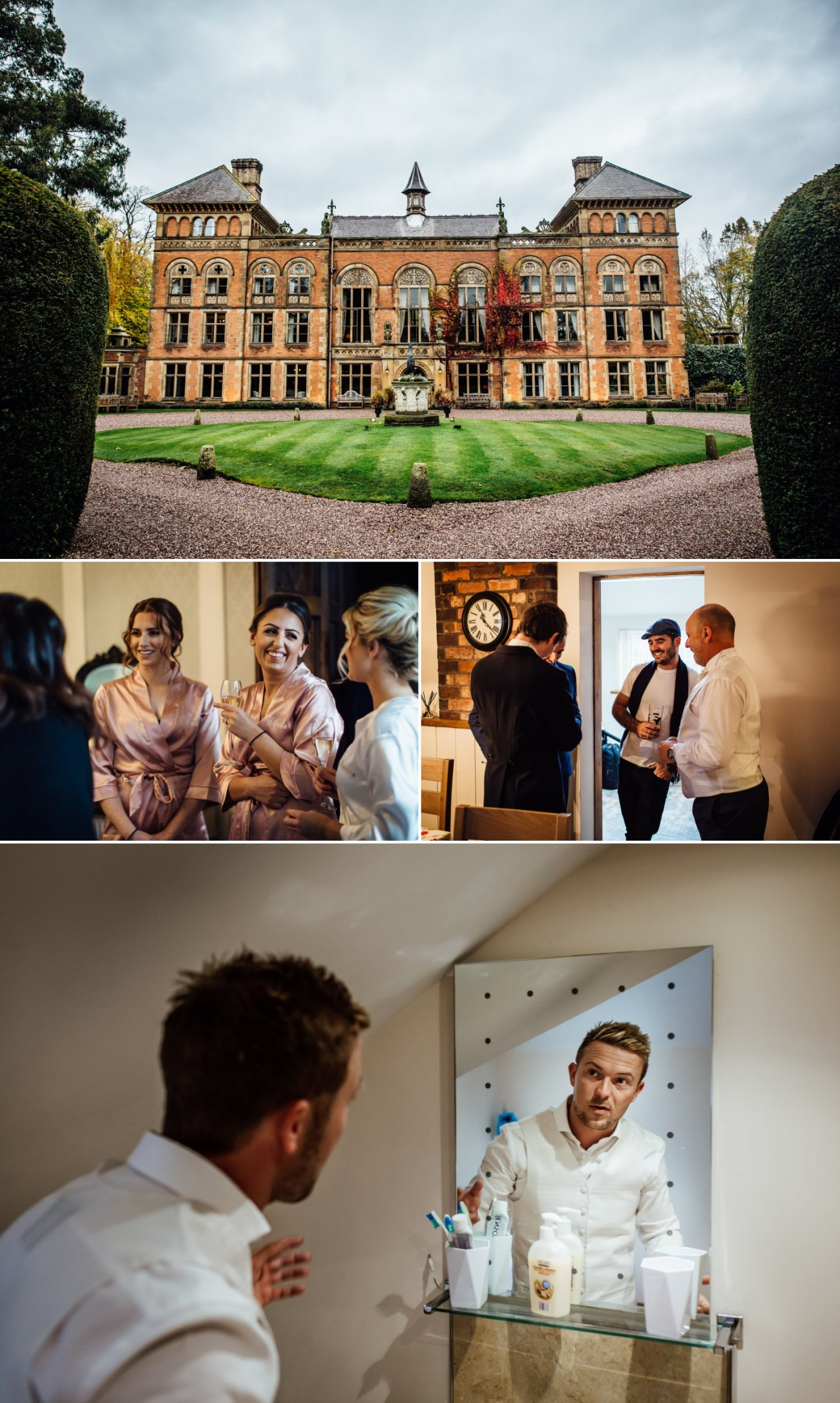 Wedding photography at Soughton Hall mold showing the getting ready