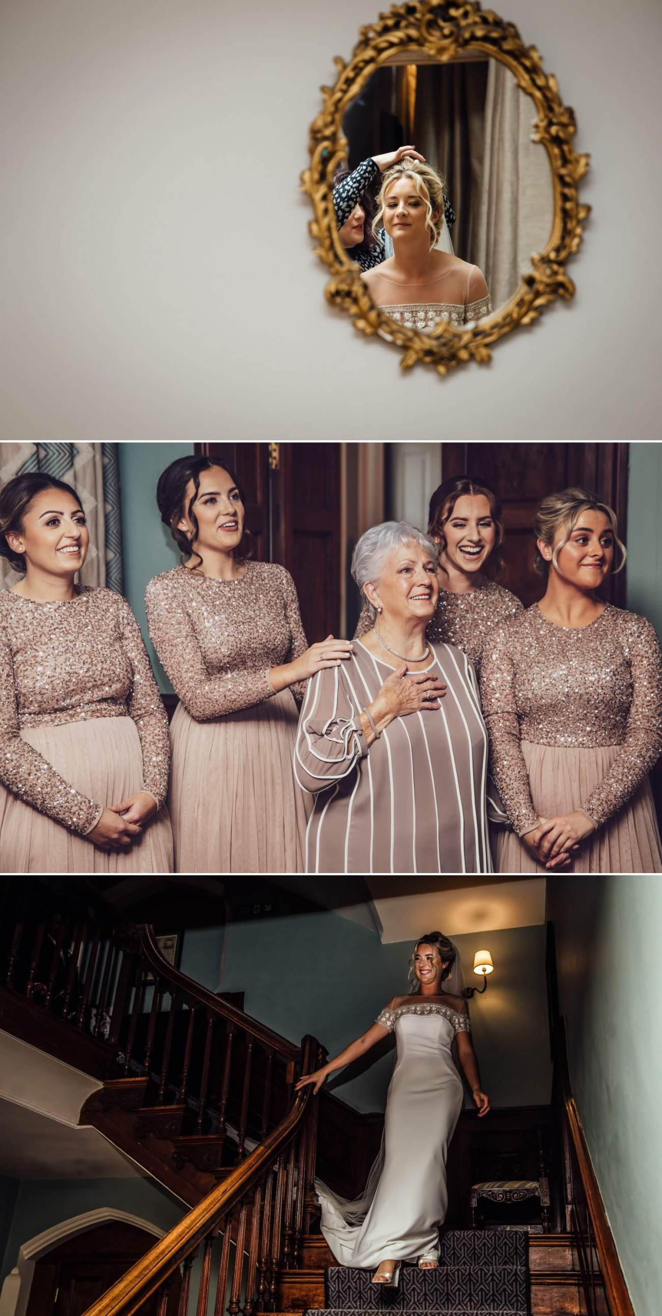 Wedding photographer north wales showcasing the bride coming down the stairs in soughton hall