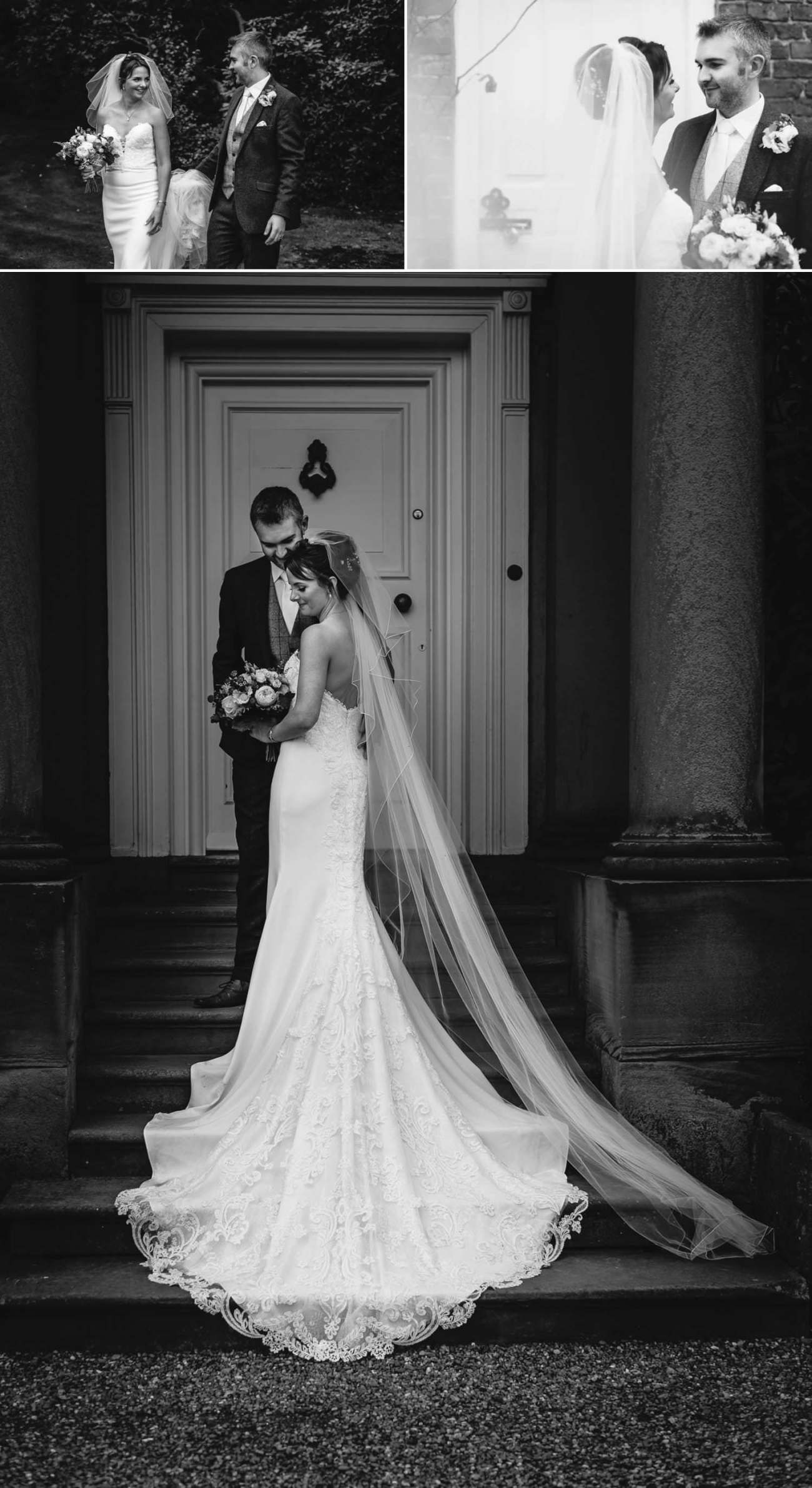 Black and white wedding photography at Iscoyd Park, portraits