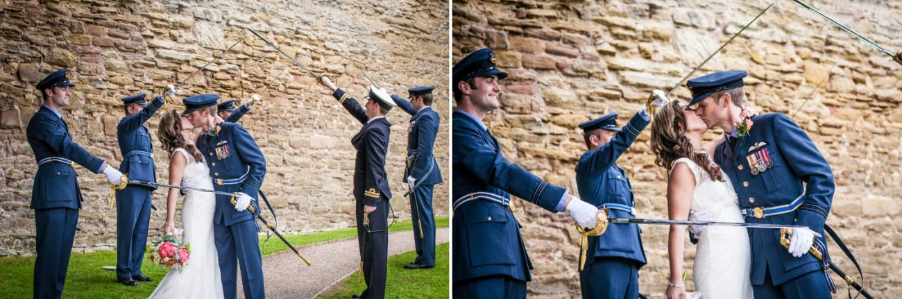 Weding Photography of RAF sworded archway in Ludlow castle, Shropshire
