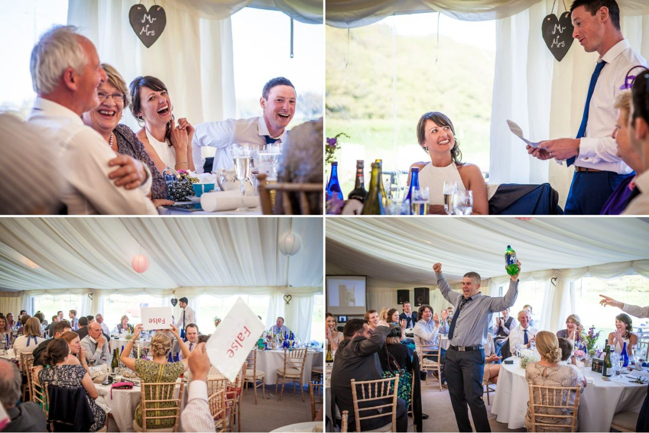 wedding photography of speeches in the marquee in north wales