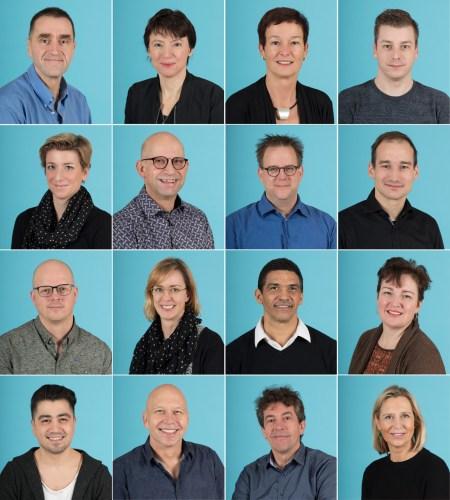 Bedrijfsportretten; collage van 16