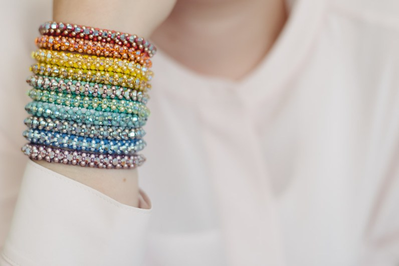 RAW Armband mit Bicones und Crystal Pearls