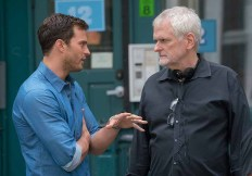 """(L to R) JAMIE DORNAN as Christian Grey and director JAMES FOLEY on the set of """"Fifty Shades Freed,"""" the climactic chapter based on the worldwide bestselling """"Fifty Shades"""" phenomenon. Bringing to a shocking conclusion events set in motion in 2015 and 2017's blockbuster films that grossed almost $950 million globally, the film arrives for Valentine's Day 2018."""