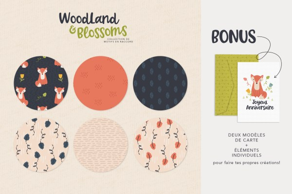 Woodland and Blossoms - Collection de motifs + carte