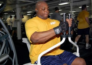 man using fitness equipment