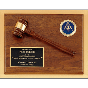 Walnut Gavel Plaque with BlackPlate and Mylar Holder MARIETTA TROPHY