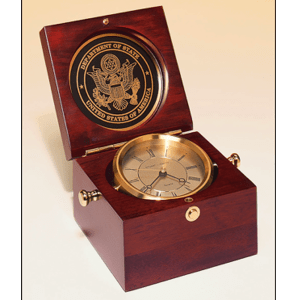 Captain's Clock with Mahogany Finish