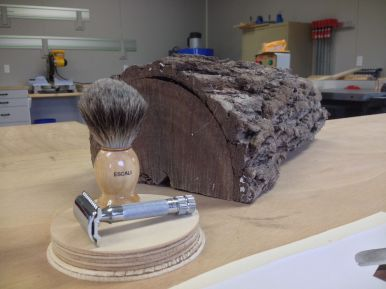 There's a shaving holder in that log!