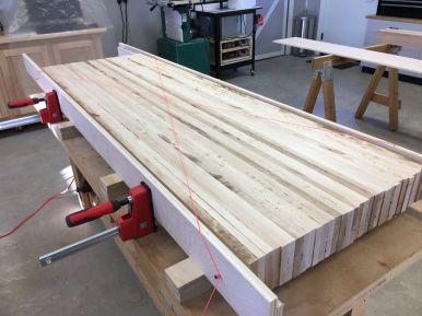 "Using the ""string method"" to set plywood rails parallel to each other"