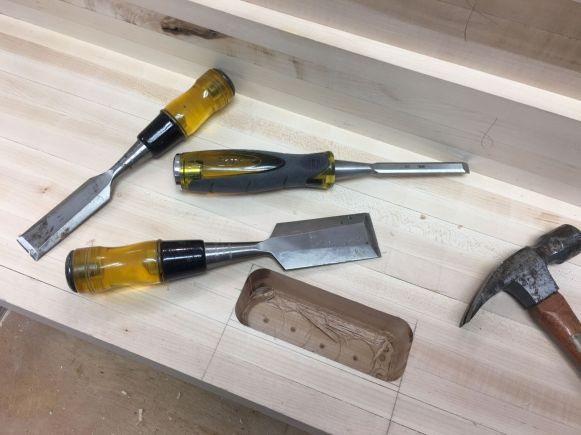 """Two passes with the router left about 1 1/2"""" of material to be removed with hammer and chisels"""