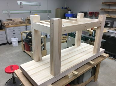 Fully assembled upside down workbench
