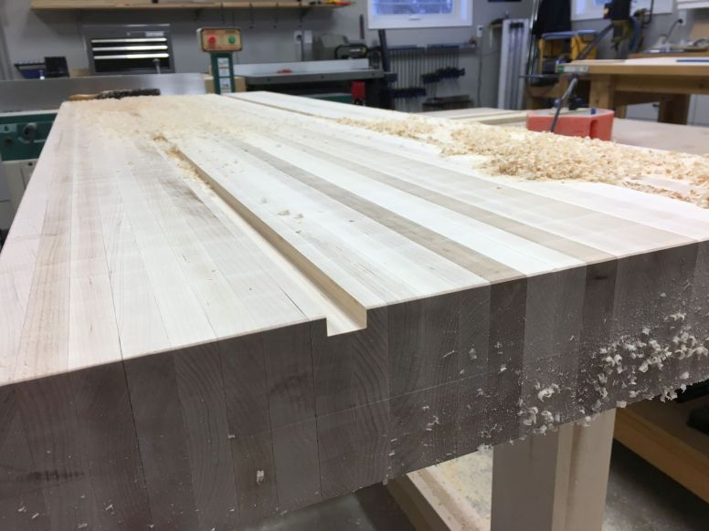 """Routed grooves 3/8""""+ deep for T-tracks"""
