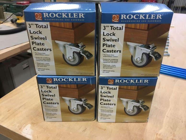 "Rockler 3"" locking swivel casters"