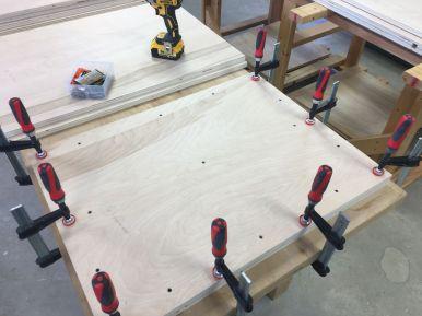"Using 1 1/4"" screws to reinforce glued up panels"