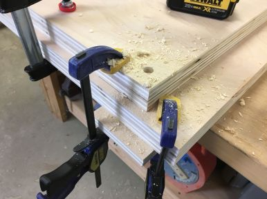 Transferring leveling plate holes to saw stand tops