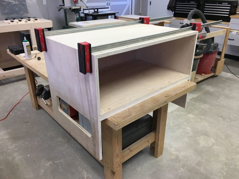 First dry fit of bench saw stand carcass