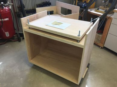 Chop saw stand carcass and leveling plate complete