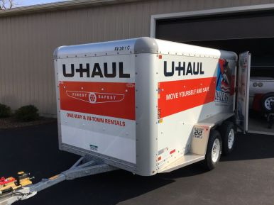 Closed 6x12 UHaul trailer for delivery rain or shine