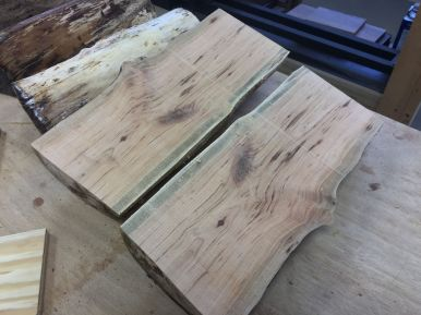 Sawn cherry log sections
