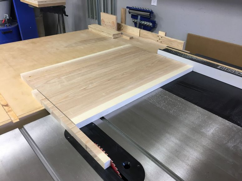 Trimming square and to length on the table saw