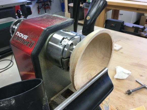 Finish turning another cherry bowl in process