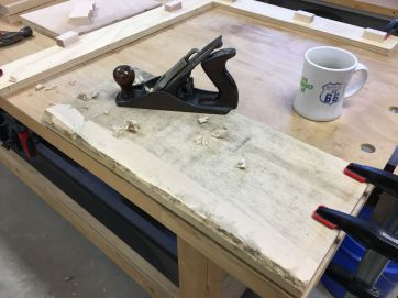 Hand flattening one of the maple blanks before planing to final thickness of just over one half inch each
