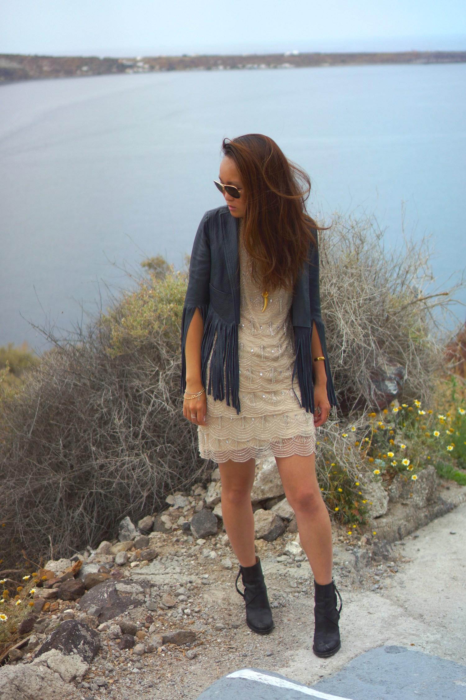 mariko kuo in kate moss for topshop jacket in santorini greece