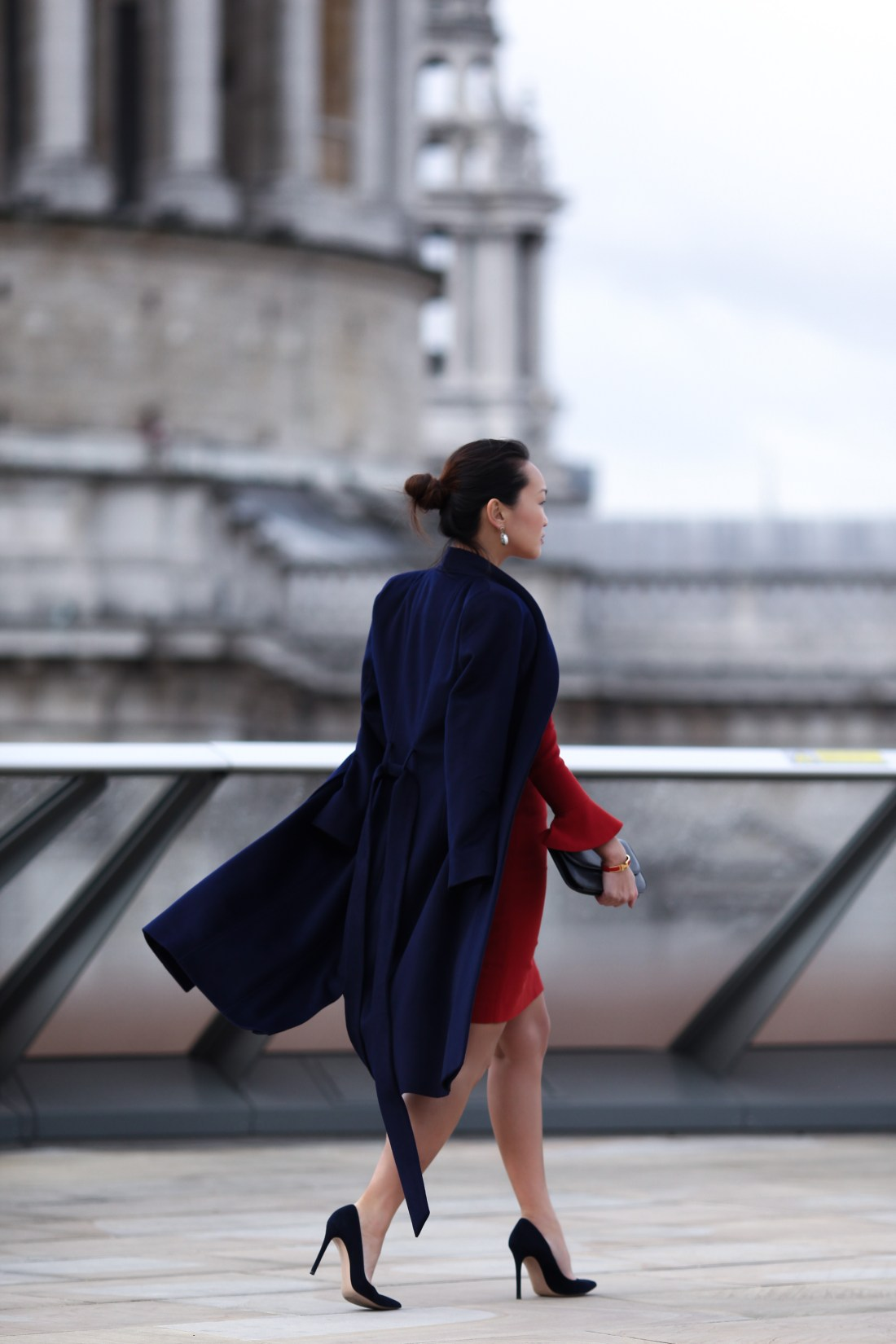 Mariko Kuo in the Carnaby dress and Claremont Coat by the Fold London