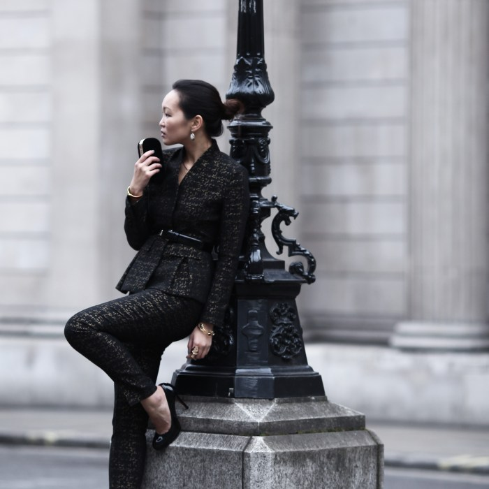 mariko kuo in the wren jacket and trousers by the fold london