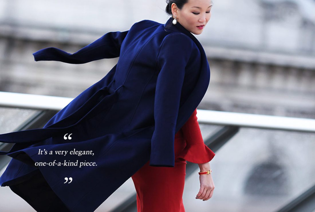 Mariko Kuo in the Claremont Coat by The Fold London