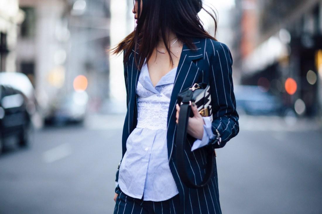 Mariko Kuo in Gestuz suit in Soho New York