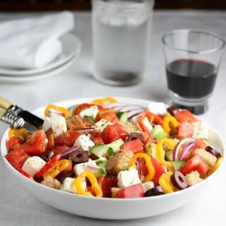 greek panzanella salad - sq