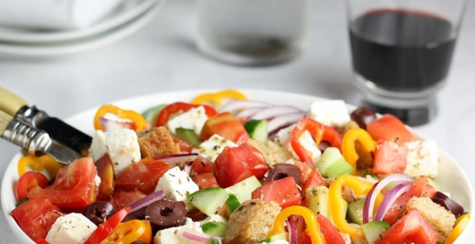greek panzanella salad - sq
