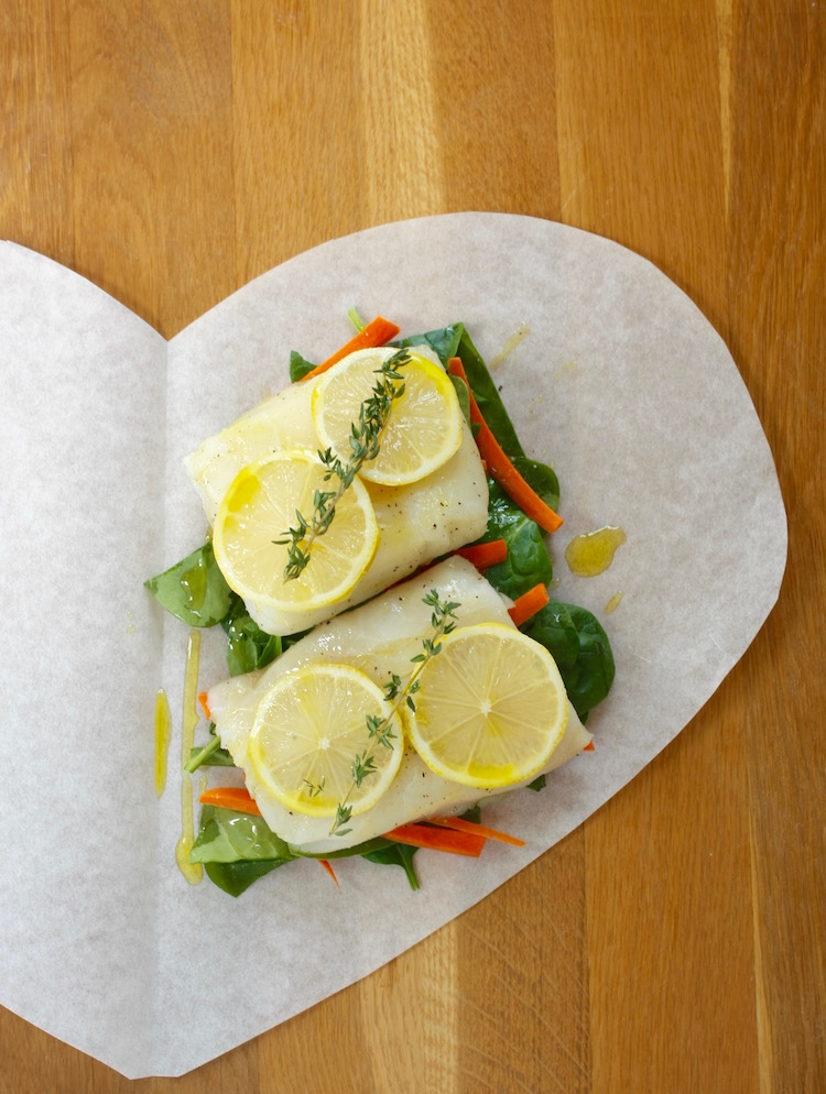fish fillets on parchment