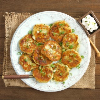 Easy Greek Potato Patties with Creamy Feta Cheese Sauce