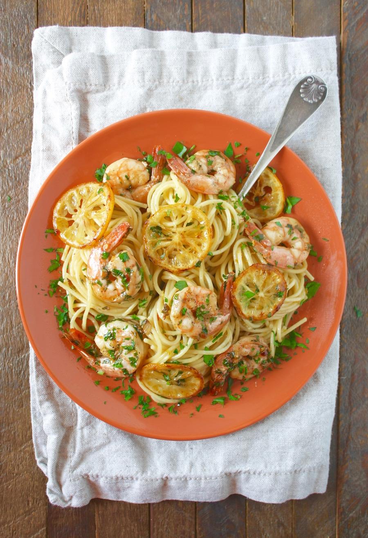 easy spaghetti with lemon-garlic shrimp
