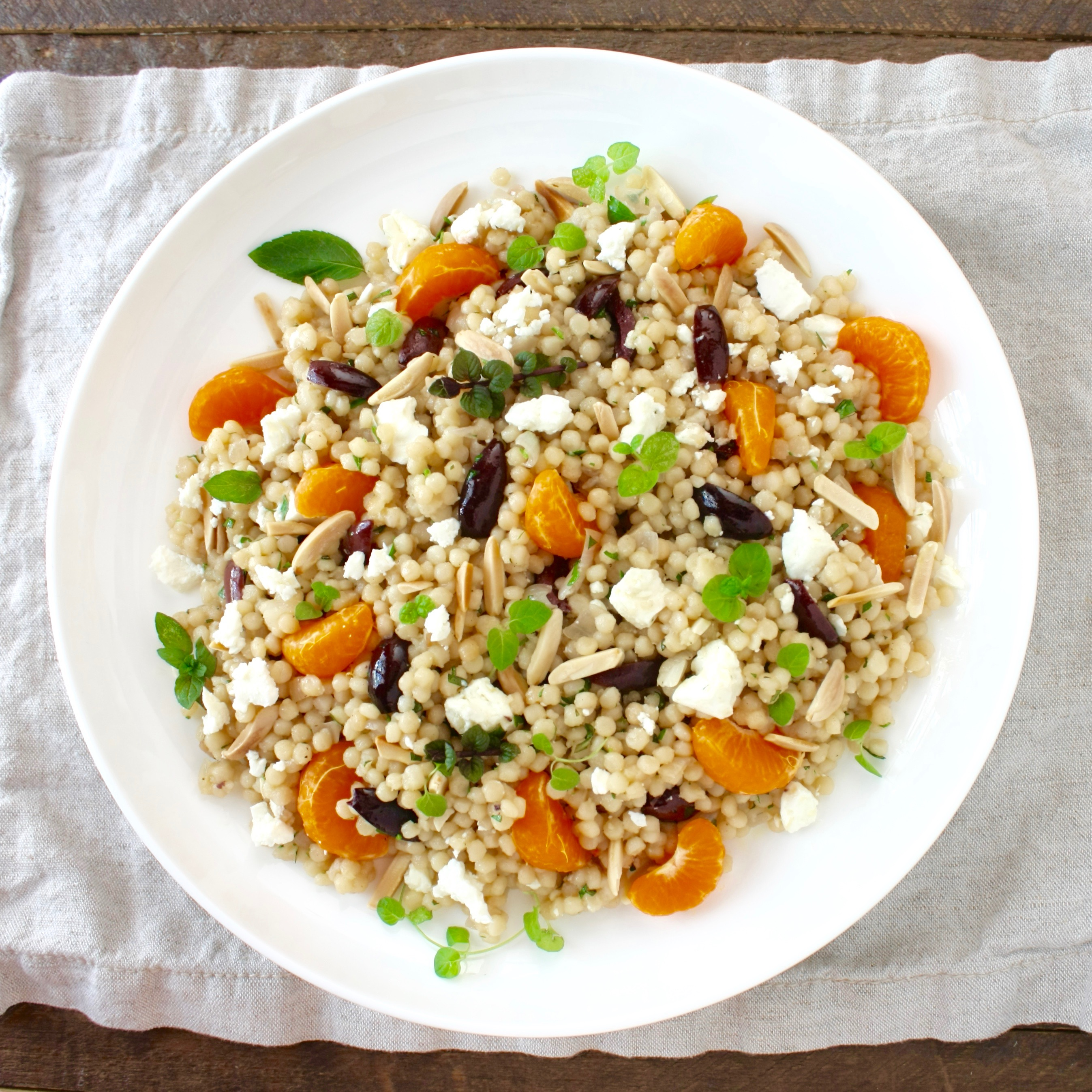 Pearl Couscous Salad With Feta Olives And Fresh Mint Marilena S Kitchen