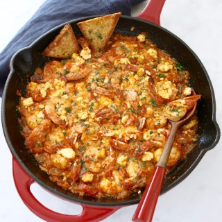 Easy Greek Shrimp Saganaki with Feta Cheese
