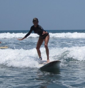 catching a wave in the Costa Rican surf