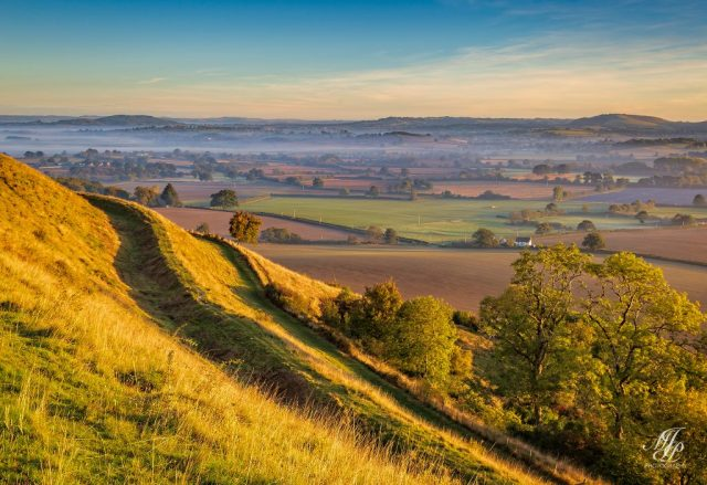 The sunny side of Hambledon Hill looking towards Shaftesbury