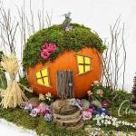 Idea para hacer una casa con mini jardín con una calabaza