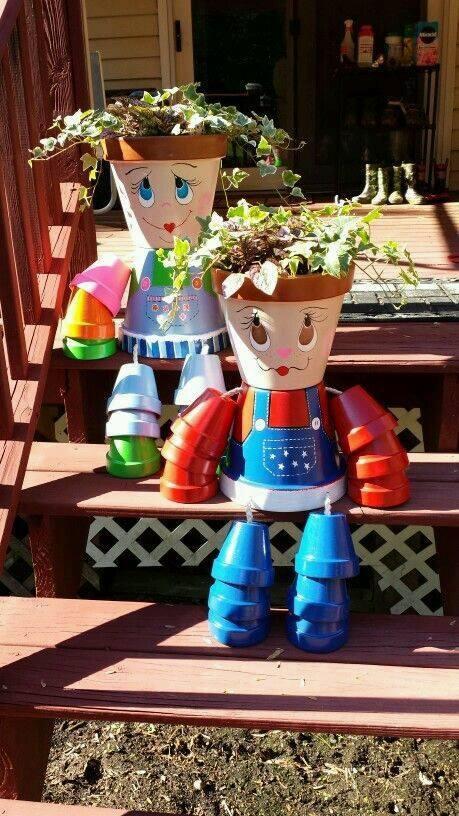 ideas de muñecos con macetas - marina creativa