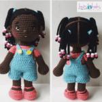 Patrón gratis amigurimi muñeca negrita con trenzas