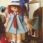 Muñeca de tela colegiala Ana con patrones