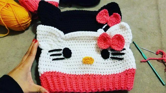 Tutorial Gorro Hello Kitty a crochet