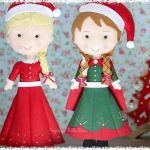 Muñecas Elsa y Anna en Navidad de fieltro con moldes
