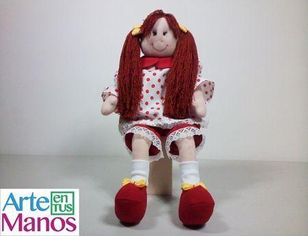 DIY+Patrones para hacer una muñeca de trapo con coletas